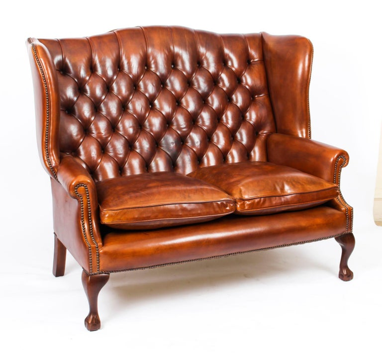Bespoke English Hand Made 3 x Leather Suite Chippendale Bruciato For Sale 10