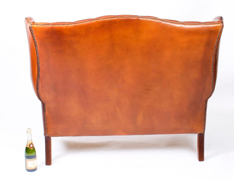 Bespoke English Hand Made 3 x Leather Suite Chippendale Bruciato For Sale 11