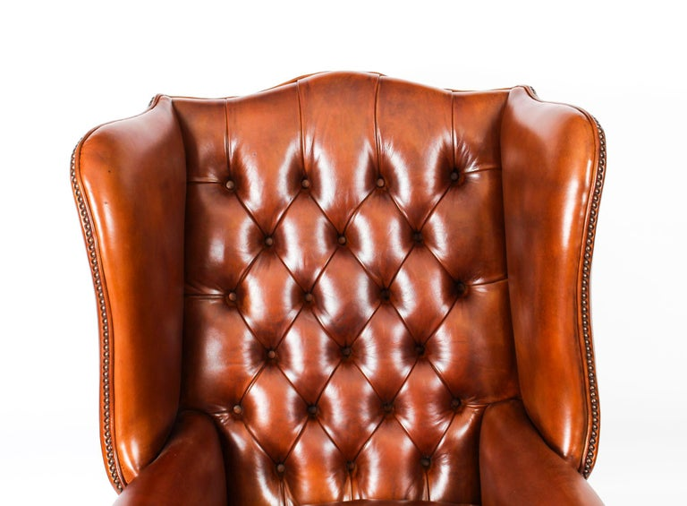 Contemporary Bespoke English Hand Made 3 x Leather Suite Chippendale Bruciato For Sale
