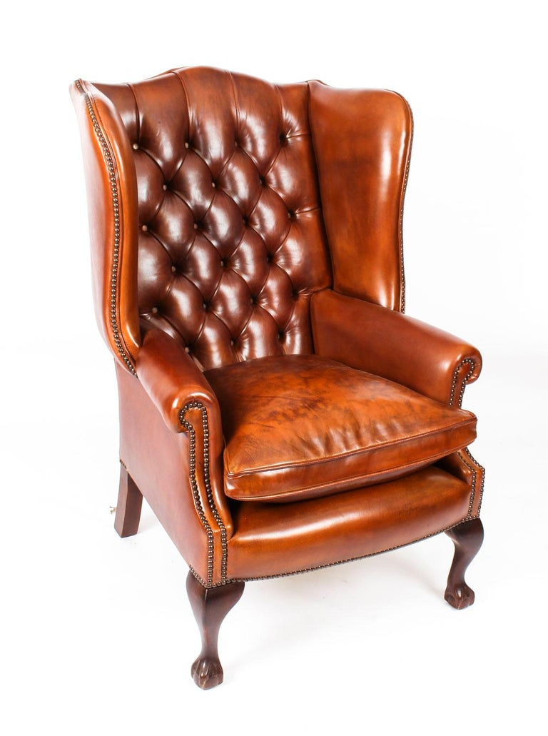 Bespoke English Handmade 3 Leather Suite Chippendale Burnt