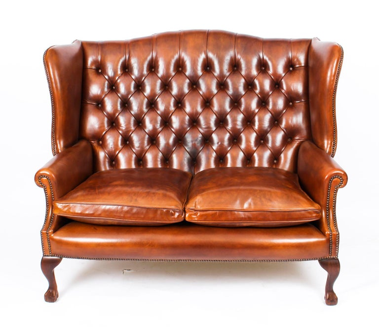 Bespoke English Hand Made 3 x Leather Suite Chippendale Bruciato For Sale 5