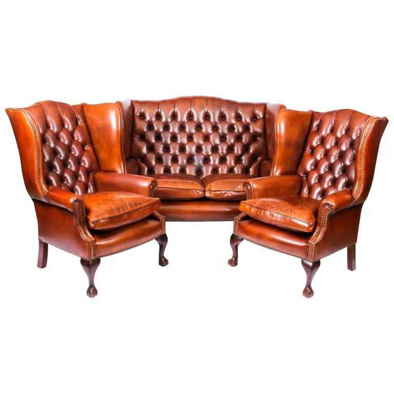 Bespoke English Hand Made 3 x Leather Suite Chippendale Bruciato For Sale