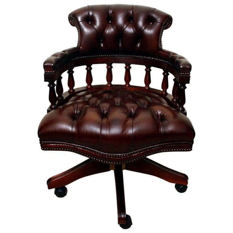 Bespoke English Handmade Leather Captains Desk Chair For