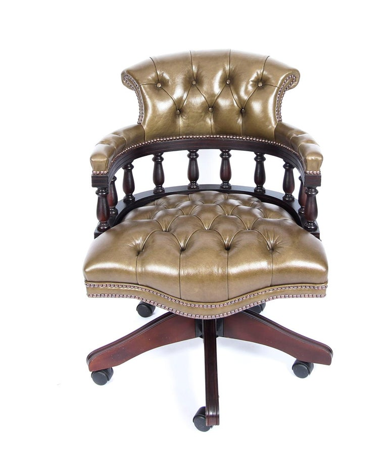 Bespoke English Handmade Leather Captains Desk Chair Olive Green In New Condition For Sale In London, GB
