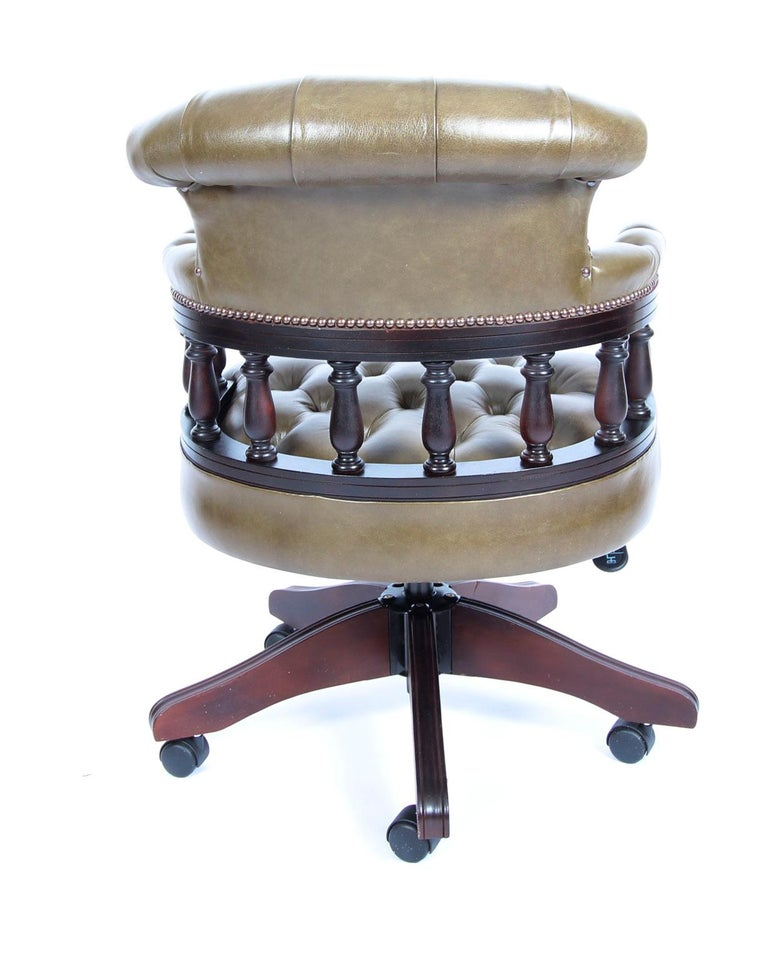 Bespoke English Handmade Leather Captains Desk Chair Olive Green For Sale 4