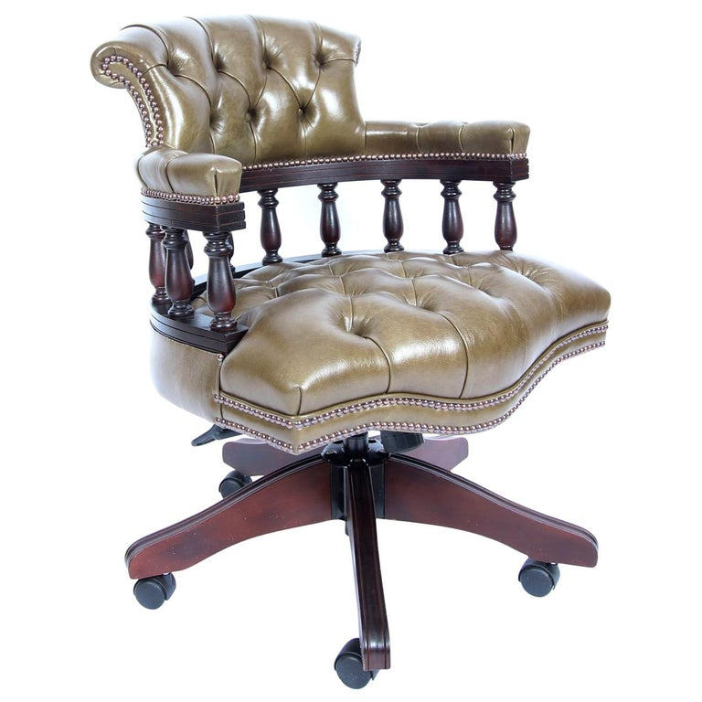 Bespoke English Handmade Leather Captains Desk Chair Olive Green For Sale