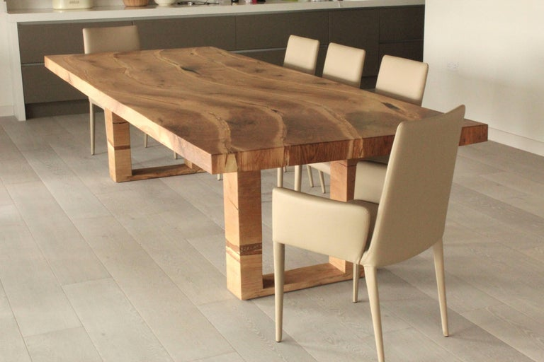 Modern Bespoke English Oak Dining Table by Jonathan Field with Inset Live Edge For Sale