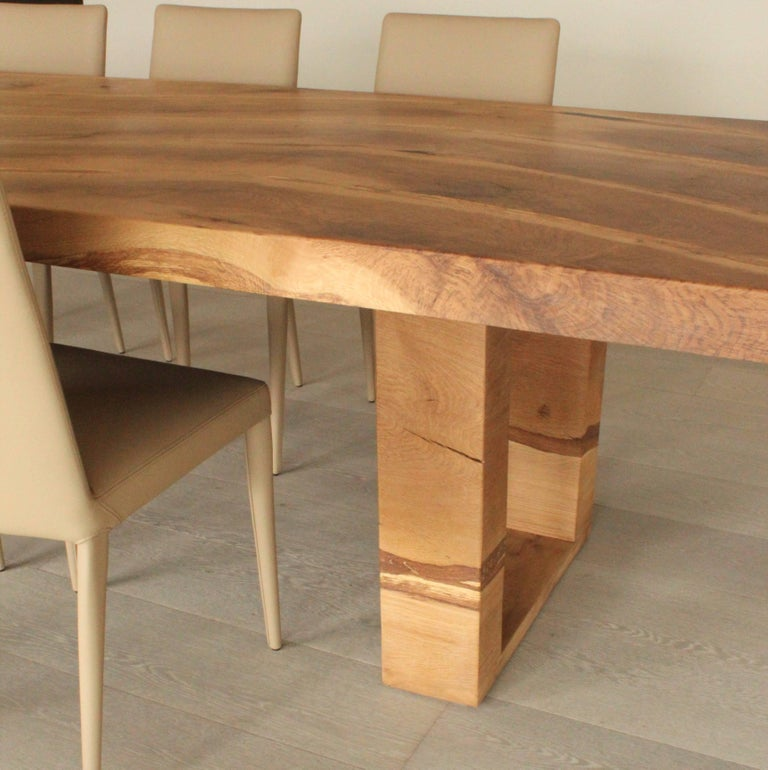 Contemporary Bespoke English Oak Dining Table by Jonathan Field with Inset Live Edge For Sale