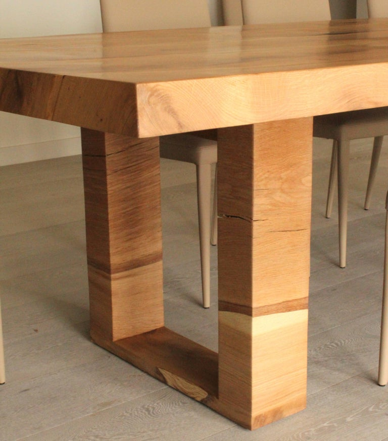 Bespoke English Oak Dining Table by Jonathan Field with Inset Live Edge For Sale 1