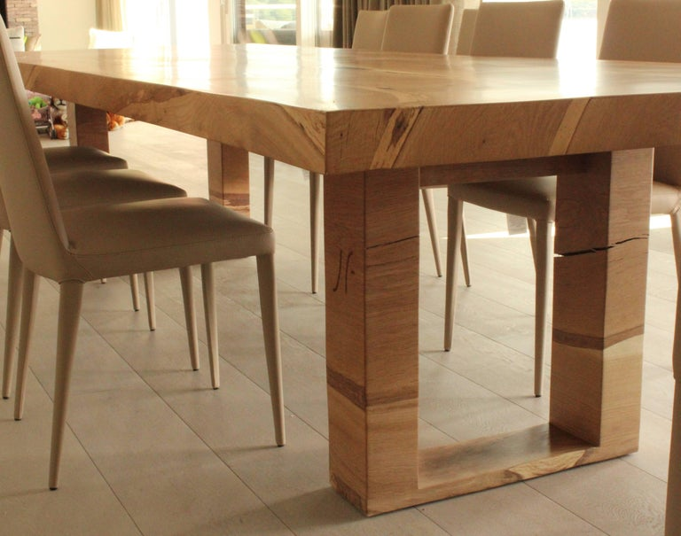 Bespoke English Oak Dining Table by Jonathan Field with Inset Live Edge For Sale 2