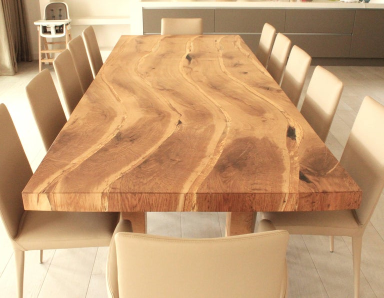Bespoke English Oak Dining Table by Jonathan Field with Inset Live Edge For Sale 3