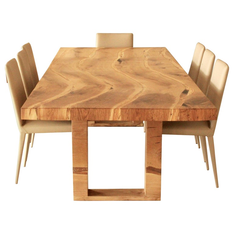 Bespoke English Oak Dining Table by Jonathan Field with Inset Live Edge For Sale
