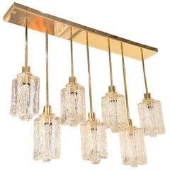 Bespoke Flush Mount Brass and Murano Glass Kalmar Style 7 Candelabra