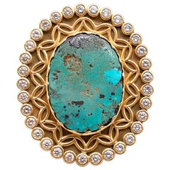 Bespoke Gold Ring with Large Turquoise Stone and Diamonds