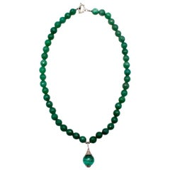 Bespoke Green Agate Pendant Beaded Necklace