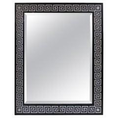 Bespoke Hand-Decorated Mirror with Greek Key Pattern Design
