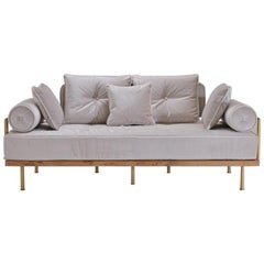 Bespoke Handmade Loveseat, Reclaimed Hardwood & Natural Brass by P. Tendercool