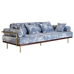 Bespoke Handmade Sofa, Reclaimed Hardwood, Brass Profiles