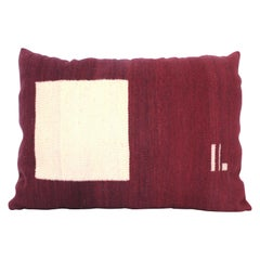 Bespoke Handwoven Wool Throw Pillow, Natural Dye, Maroon and Cream