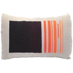 Bespoke Handwoven Wool Throw Pillow, Natural Dye, Red, Orange and Grey