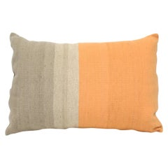 Bespoke Handwoven Wool Throw Pillow, Orange and Grey
