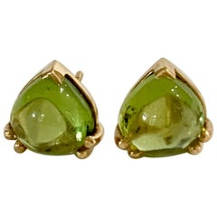Bespoke Heart Shaped Peridot Cabochon Earrings in 18 Carat Yellow Gold