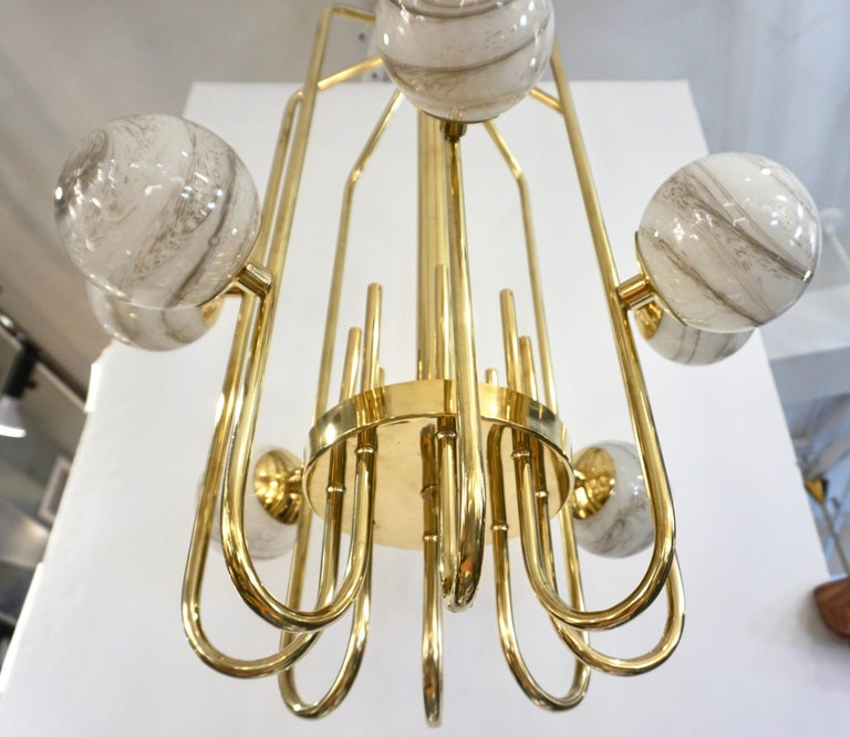 Bespoke Italian Alabaster White Murano Glass Brass Curved Globe Chandelier For Sale 5