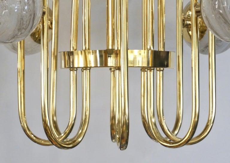 Bespoke Italian Alabaster White Murano Glass Brass Curved Globe Chandelier For Sale 6