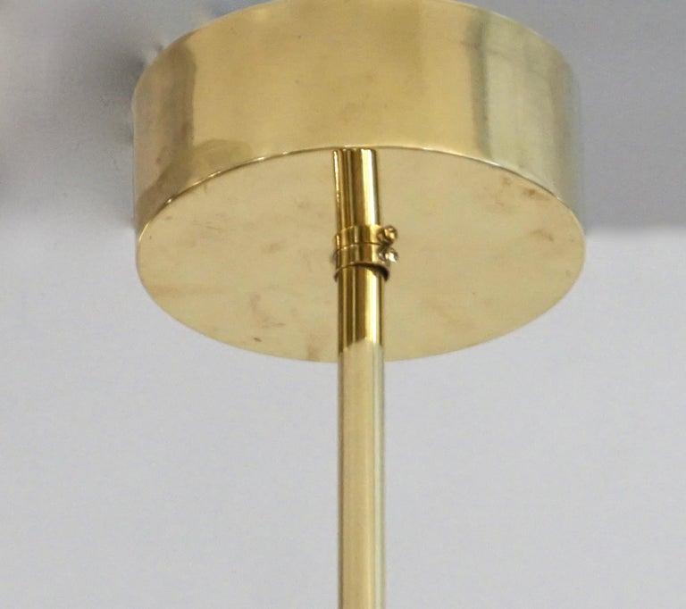 Bespoke Italian Alabaster White Murano Glass Brass Curved Globe Chandelier For Sale 8