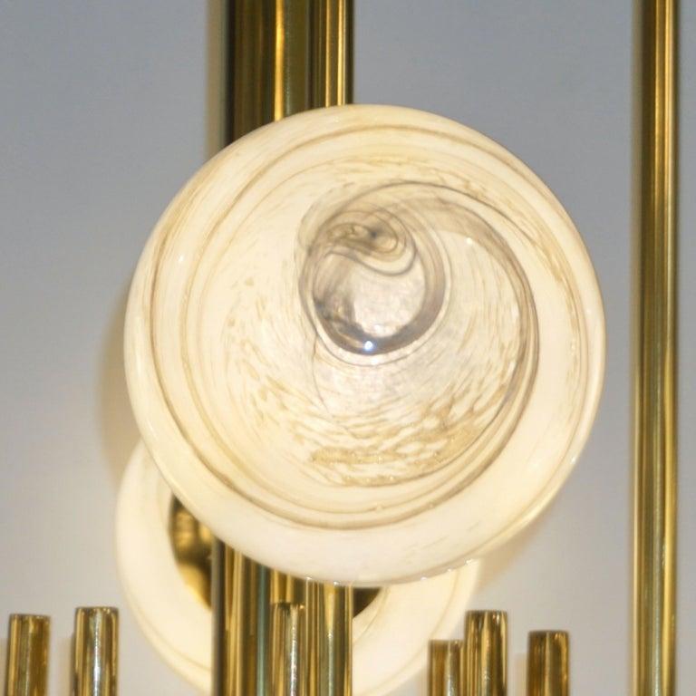 Bespoke Italian Alabaster White Murano Glass Brass Curved Globe Chandelier For Sale 9