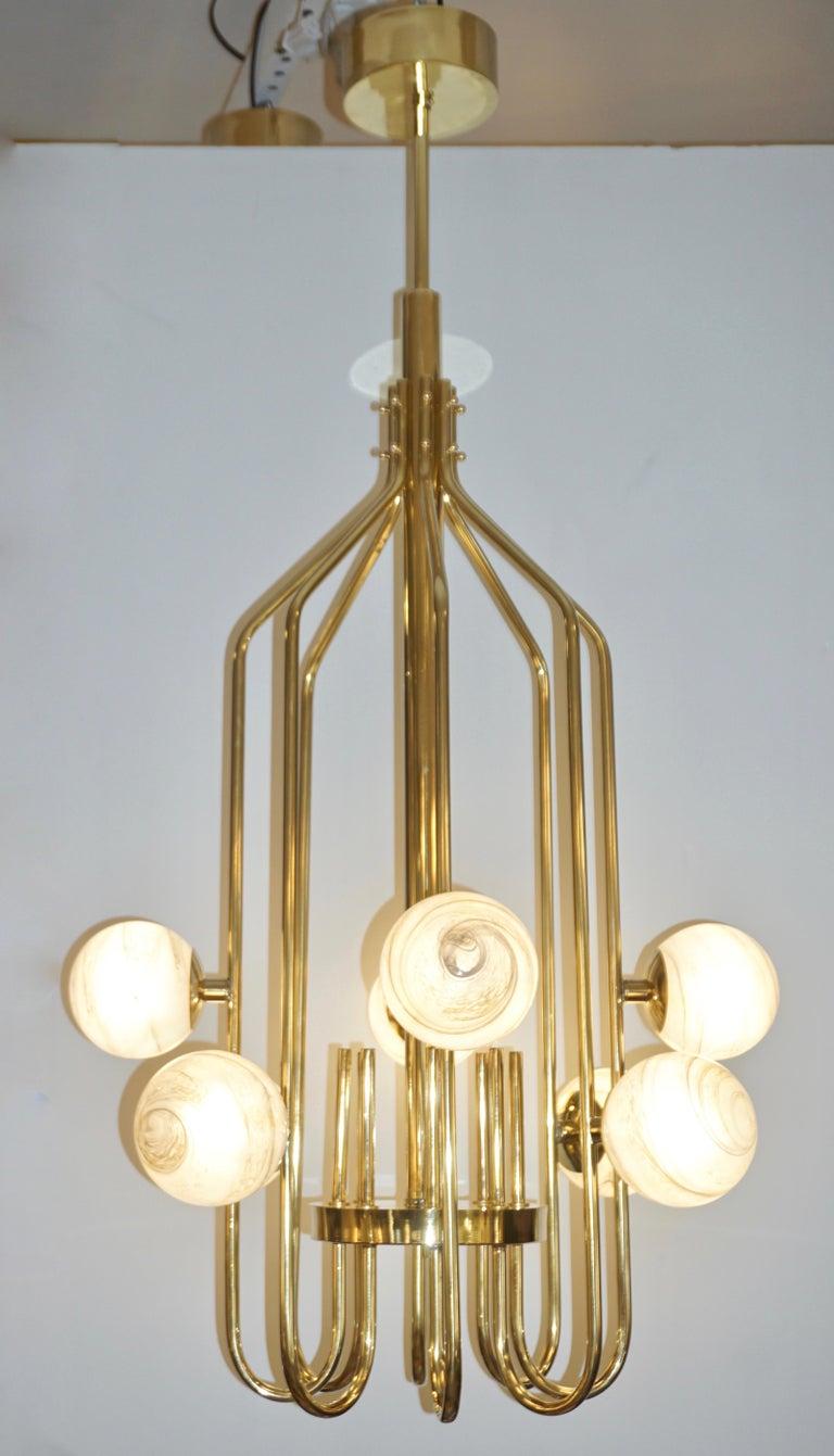 Bespoke Italian Alabaster White Murano Glass Brass Curved Globe Chandelier For Sale 10