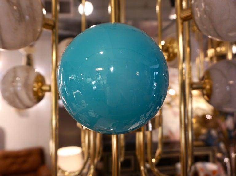 Bespoke Italian Alabaster White Murano Glass Brass Curved Globe Chandelier For Sale 11