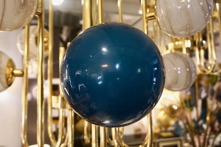 Bespoke Italian Alabaster White Murano Glass Brass Curved Globe Chandelier For Sale 12