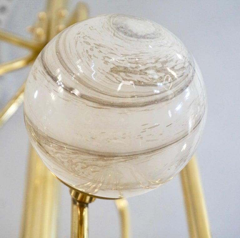 Organic Modern Bespoke Italian Alabaster White Murano Glass Brass Curved Globe Chandelier For Sale