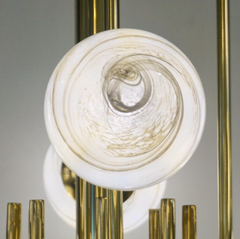 Hand-Crafted Bespoke Italian Alabaster White Murano Glass Brass Curved Globe Chandelier For Sale