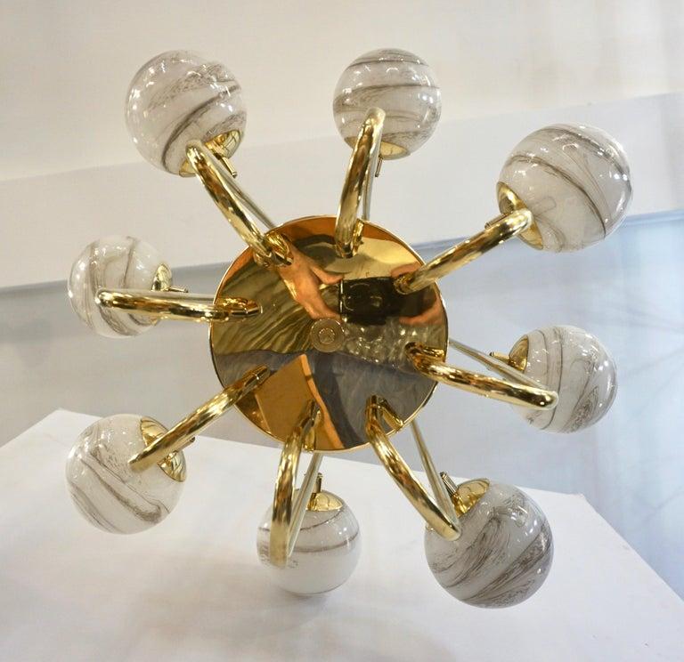 Contemporary Bespoke Italian Alabaster White Murano Glass Brass Curved Globe Chandelier For Sale