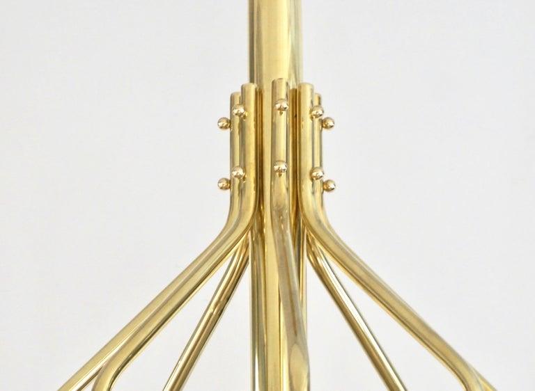 Bespoke Italian Alabaster White Murano Glass Brass Curved Globe Chandelier For Sale 1