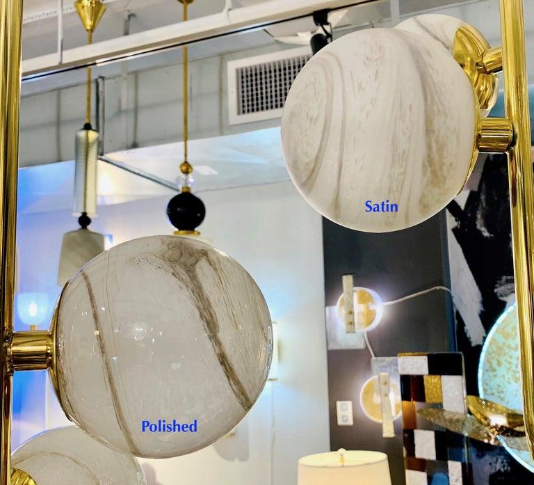 Bespoke Italian Alabaster White Murano Glass Brass Curved Globe Chandelier For Sale 3
