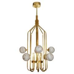 Bespoke Italian Alabaster White Murano Glass Brass Curved Globe Chandelier