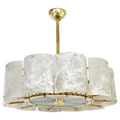 Bespoke Italian Alabaster White Murano Glass Brass Round Chandelier / Flushmount