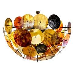 Bespoke Italian Amber Orange Brown Murano Glass Bronze Finish Sputnik Flushmount