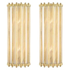Bespoke Italian Art Deco Design Crystal Murano Glass Half Moon Brass Sconces