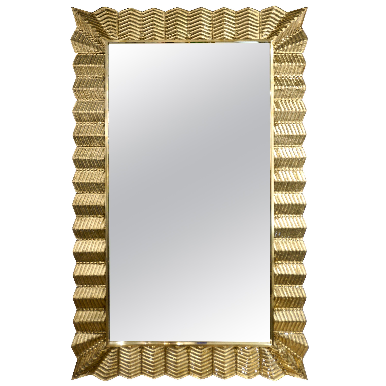 Bespoke Italian Art Deco Design Ruffled Gold Murano Glass Brass Mirror