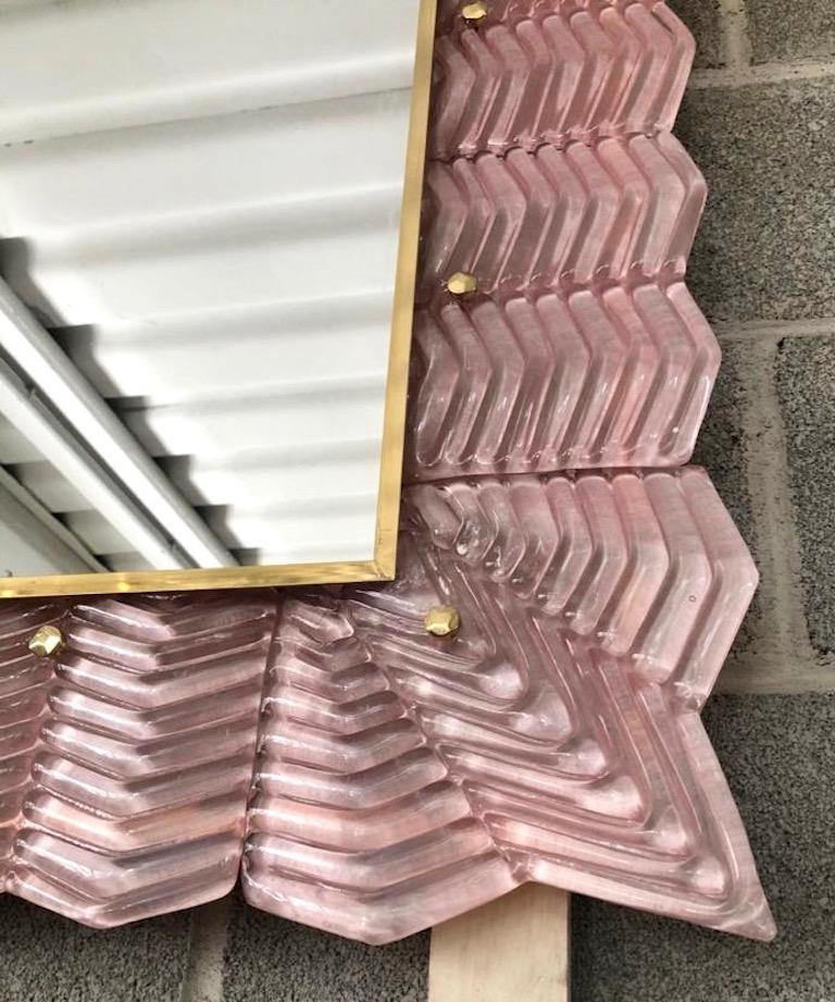 Hand-Crafted Bespoke Italian Art Deco Design Ruffled Silver Pink Murano Glass Brass Mirror For Sale