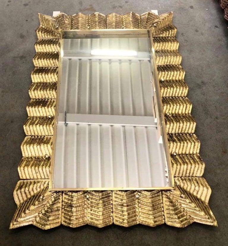 Contemporary Bespoke Italian Art Deco Design Ruffled Silver Pink Murano Glass Brass Mirror For Sale
