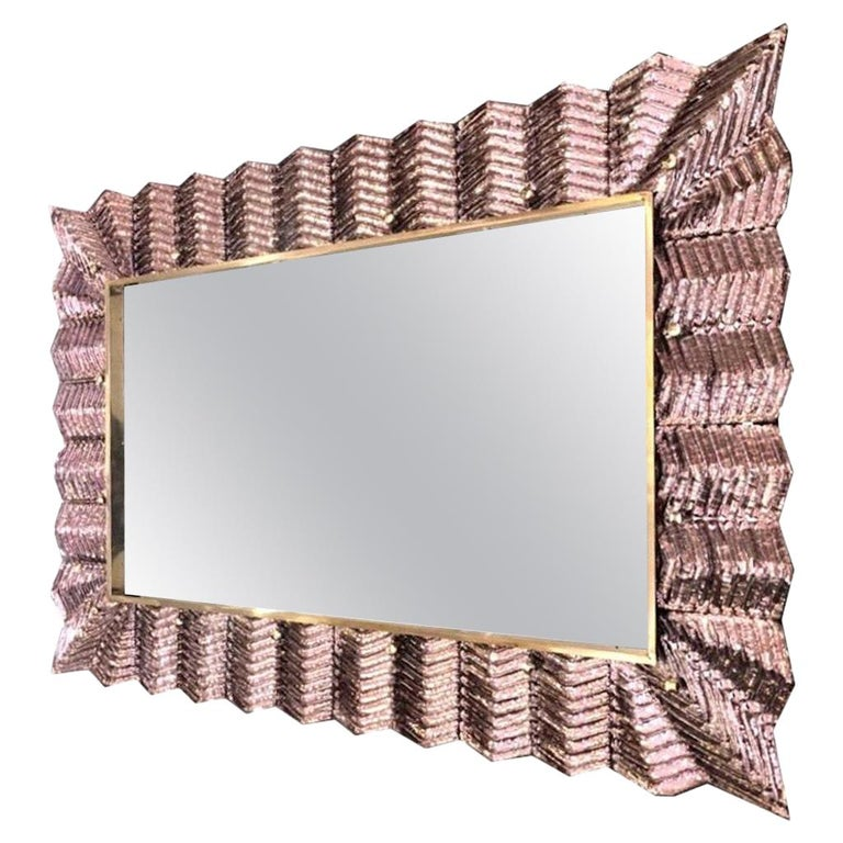 Bespoke Italian Art Deco Design Ruffled Silver Pink Murano Glass Brass Mirror For Sale