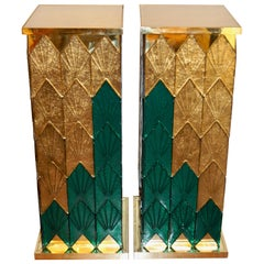 Bespoke Italian Art Deco Style Green Gold Murano Glass Brass and Wood Pedestals