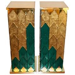 Bespoke Italian Art Deco Style Green Gold Murano Glass Brass and Wood Pedestals