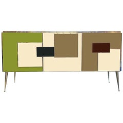 Bespoke Italian Colored Glass and Brass Sideboard