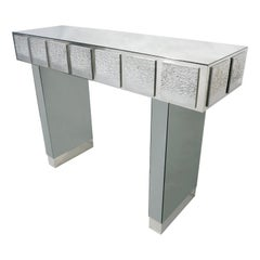 Bespoke Italian Contemporary One-of-a-Kind Polished Steel Smoked Mirror Console